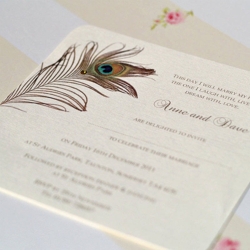 Peacock Feather Wedding Invitations Lovely Peacock Feather Wedding Invitations by Beautiful Day