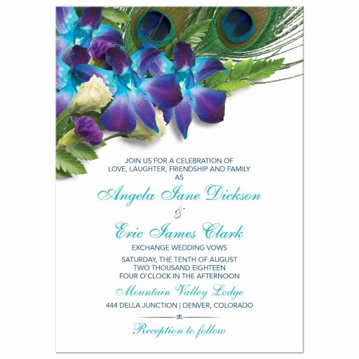 Peacock Feather Wedding Invitations Luxury Blue Dendrobium orchid Peacock Feather Wedding Invitation
