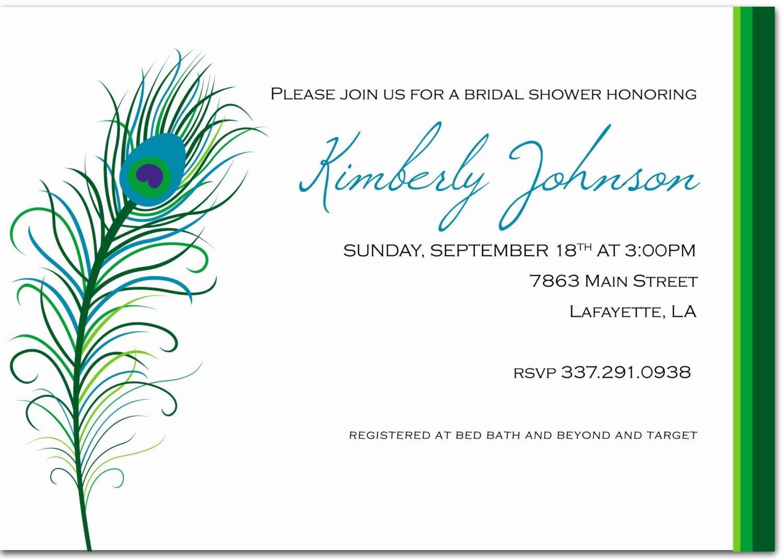 Peacock Invitations Template Free Beautiful Custom Diy Printable Peacock Bridal Shower Invitation by Robison