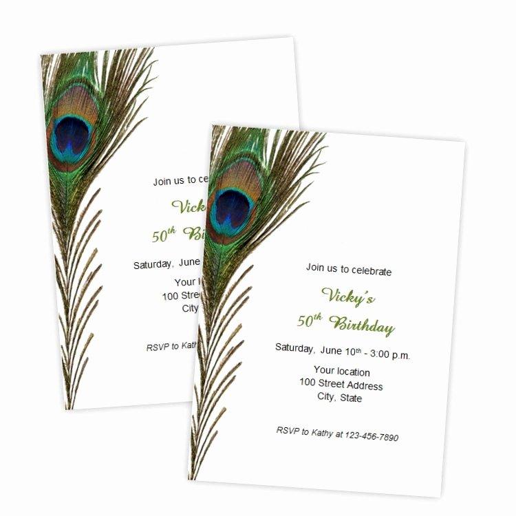 Peacock Invitations Template Free Beautiful Peacock Feather Birthday Invitations Bridal Shower Wedding