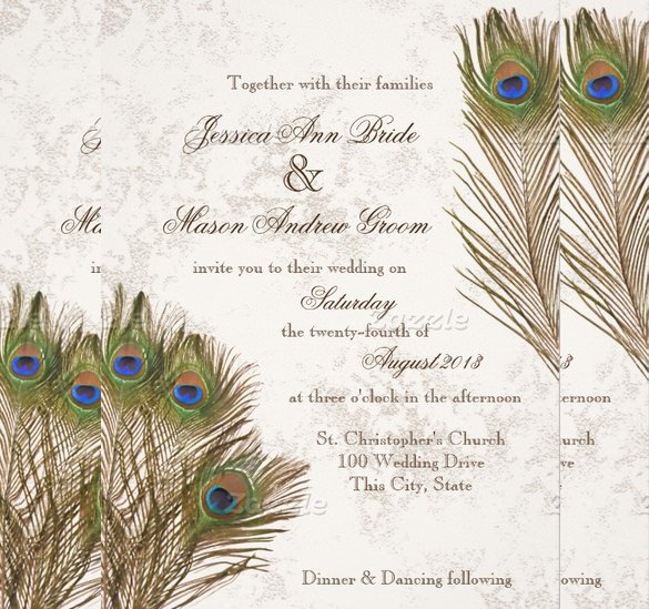 Peacock Invitations Template Free Elegant 13 Peacock Wedding Invitations Psd Jpg Indesign