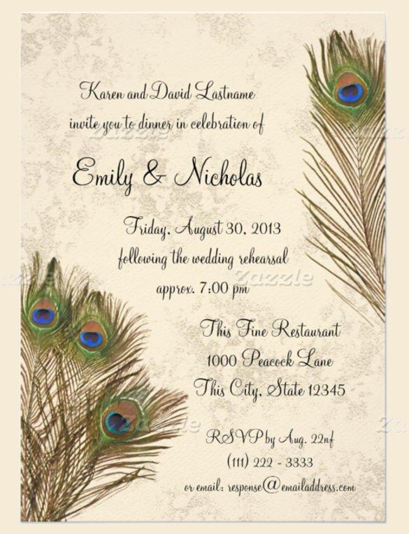 Peacock Invitations Template Free Elegant 23 Peacock Wedding Invitation Templates – Free Sample Example format Download