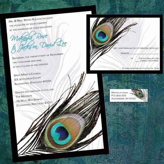 Peacock Invitations Template Free Fresh Custom Peacock Feather Wedding Invitation Sample Packet