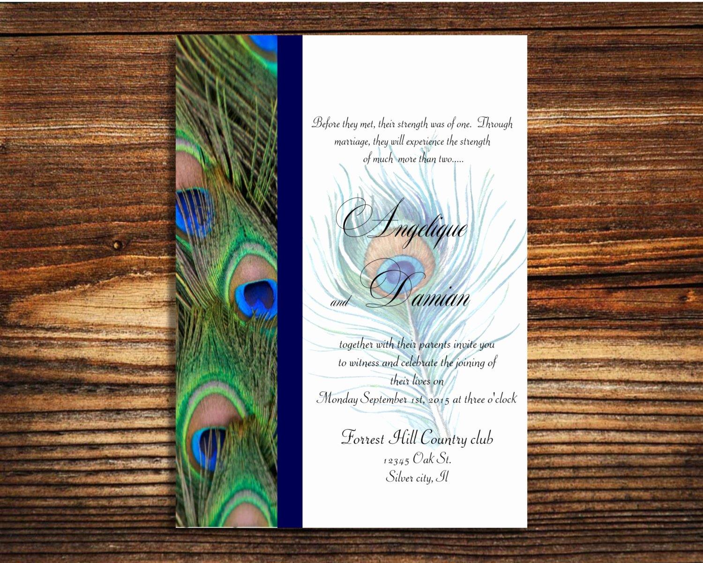 Peacock Invitations Template Free Fresh Instant Template Peacock Wedding Invitation Editable