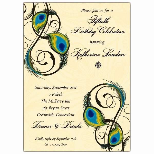 Peacock Invitations Template Free Inspirational Peacock Feathers Birthday Invitations