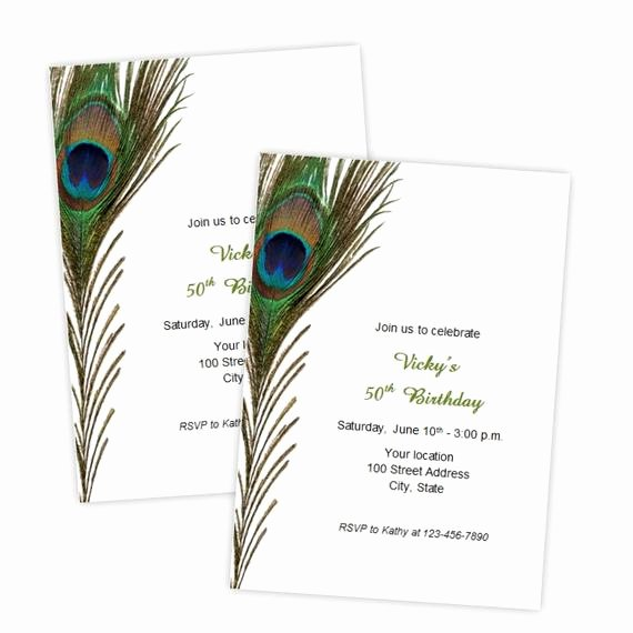 Peacock Invitations Template Free Lovely Peacock Feather Birthday Invitations Bridal Shower Wedding