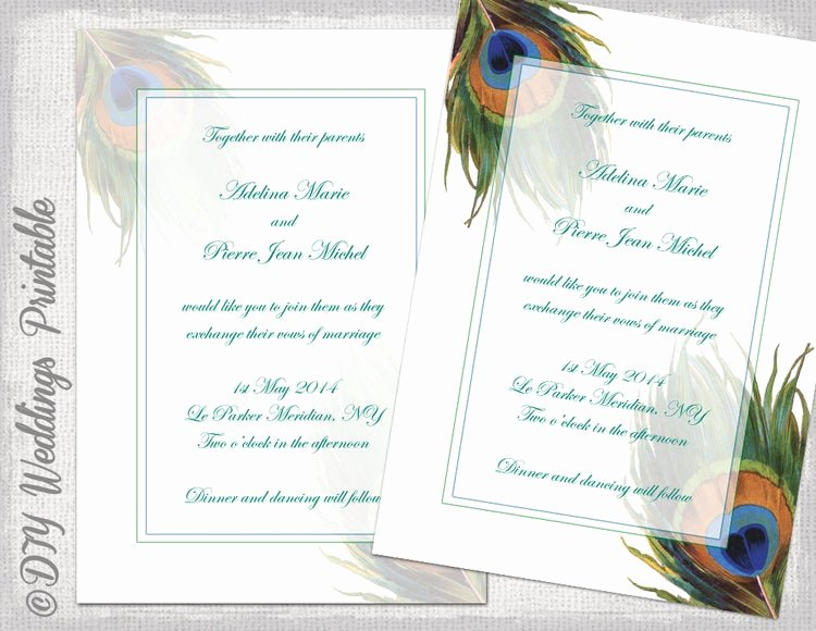 Peacock Invitations Template Free New Peacock Wedding Invitation Template by Diyweddingsprintable