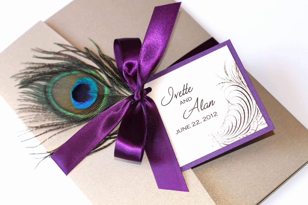 Peacock themed Wedding Invitations Elegant Embellished Paperie Peacock Purple and Gold Wedding Invitation