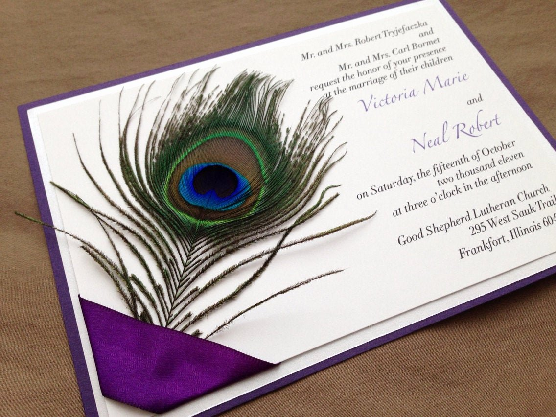 Peacock themed Wedding Invitations Fresh Quenisha Peacock Feather Wedding Invitation
