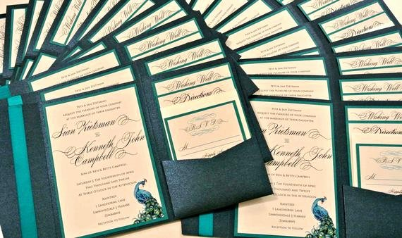 Peacock themed Wedding Invitations Lovely Custom Peacock Feather Pocketfold Wedding Invitation Set