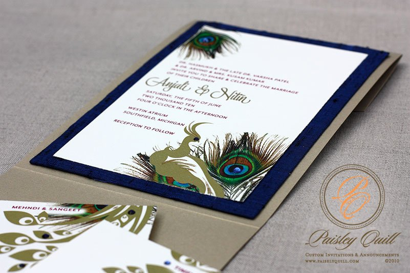 Peacock themed Wedding Invitations Lovely Paisley Quill Peacock themed Hindu Wedding Invitations