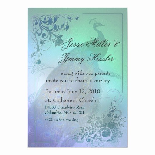 Peacock themed Wedding Invitations Luxury Diy Peacock theme Wedding Invitation