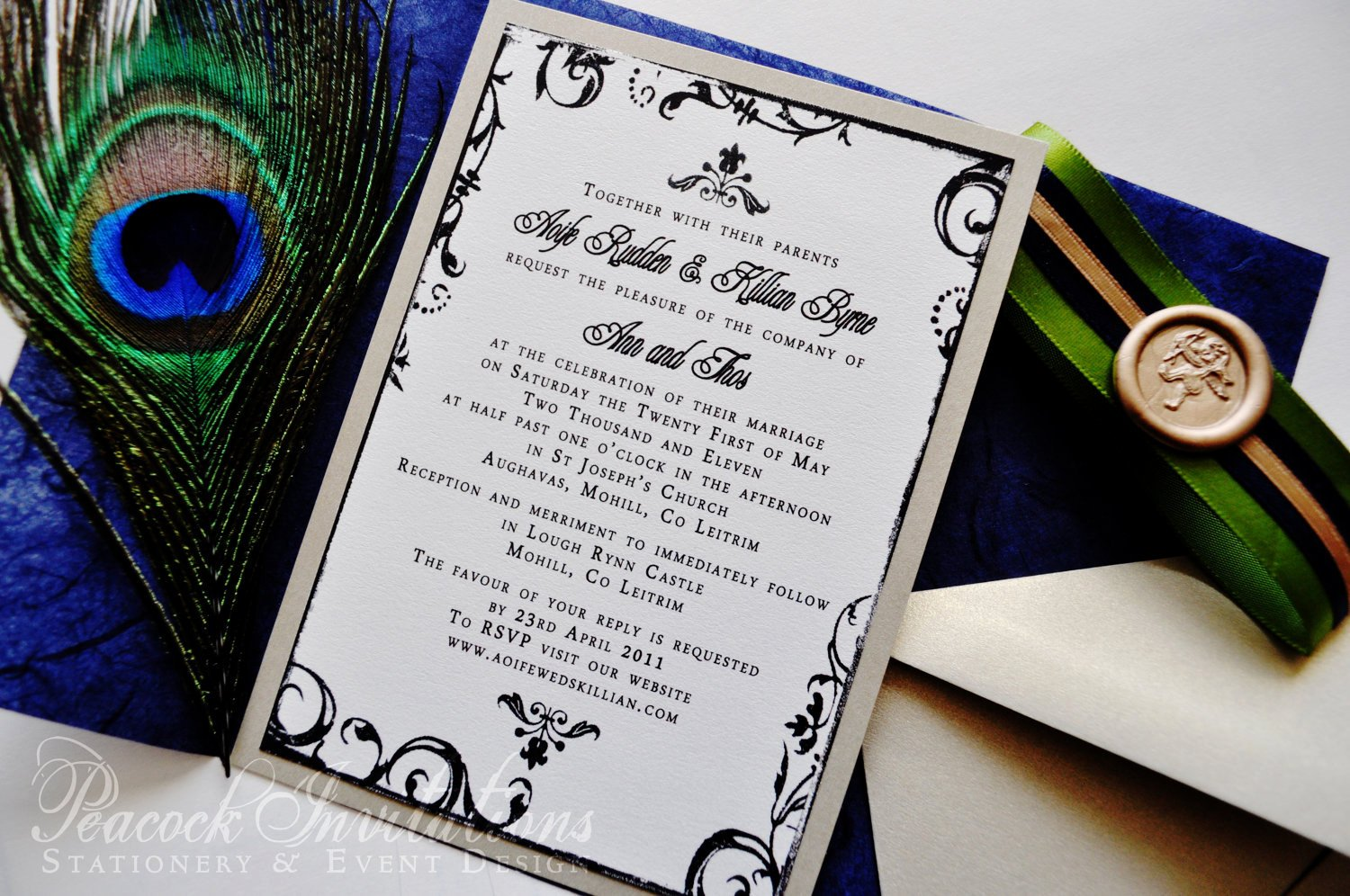 Peacock themed Wedding Invitations Luxury sophie Paris Rustic French Peacock themed Wedding Invitations