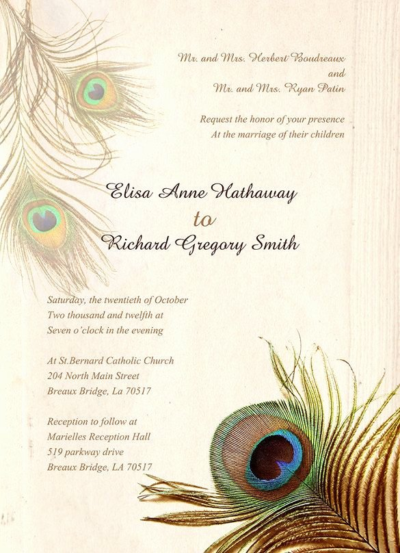 Peacock themed Wedding Invitations Unique 25 Peacock Wedding Invitation Templates – Free Sample Example Peacock Friends