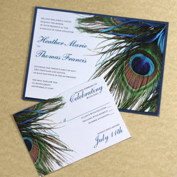 Peacock Wedding Invitations Template Awesome 23 Peacock Wedding Invitation Templates – Free Sample Example format Download