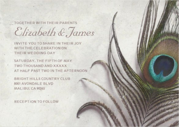 Peacock Wedding Invitations Template Beautiful 23 Peacock Wedding Invitation Templates – Free Sample Example format Download
