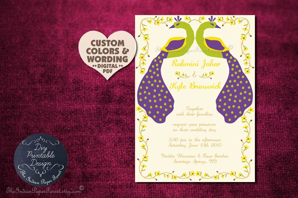 Peacock Wedding Invitations Template Best Of Rustic Peacock Wedding Invitation Program Cover Diy Printable