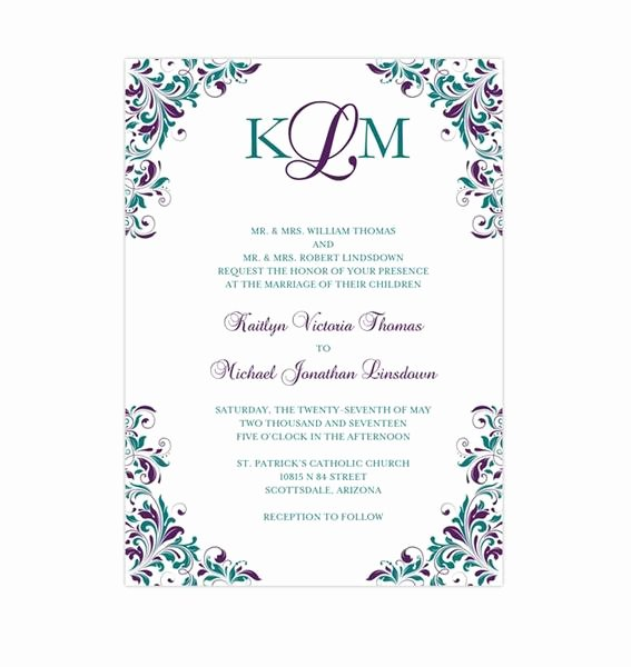 Peacock Wedding Invitations Template Fresh Kaitlyn Wedding Invitation Peacock Purple Teal Wedding Template Shop