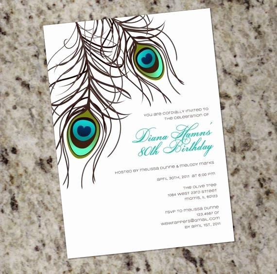 Peacock Wedding Invitations Template Luxury Peacock Invitation Printable Design Wedding Birthday or