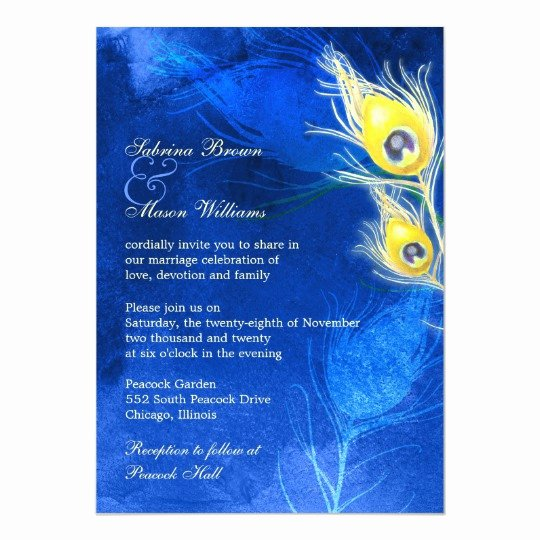 Peacock Wedding Invitations Template Unique Gold Peacock Feathers Cobalt Blue Wedding Invitation