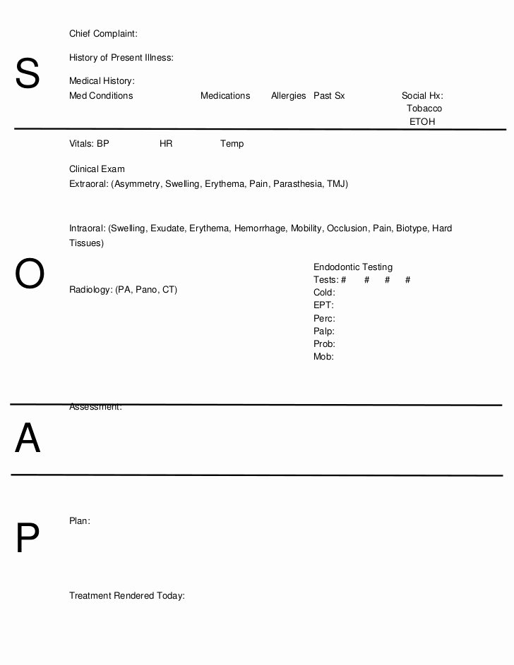 Pediatric soap Note Template Fresh soap Notes Dentistry Word