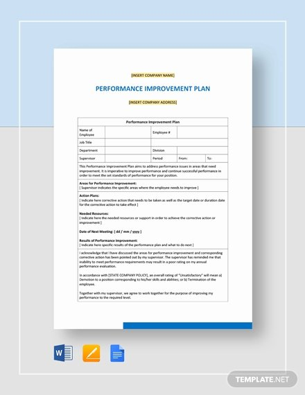 Performance Improvement Plan Template Word Unique Sample Performance Improvement Plan Template Word Google Docs Apple Pages