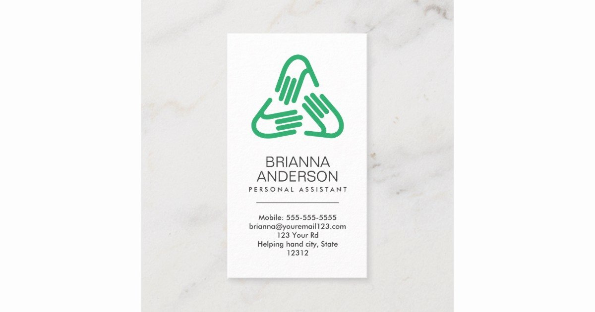 Personal assistant Business Cards Elegant Helping Hands Symbol Green Personal assistant Business Card