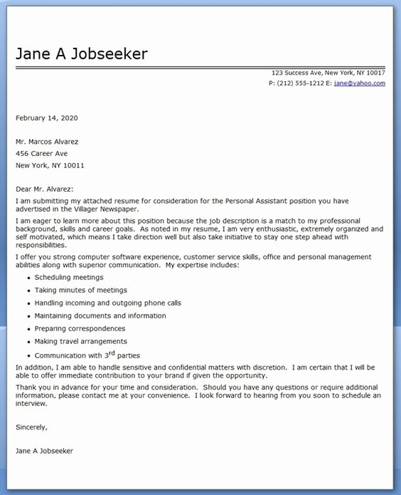 Personal assistant Cover Letter Elegant Personal assistant Cover Letter Sample Uth Pinterest