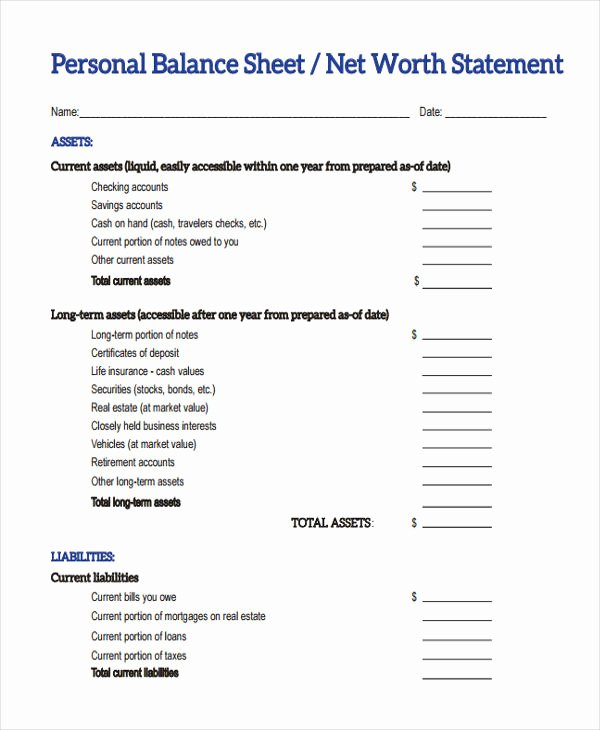 Personal Balance Sheet Template Awesome 28 Sheet Templates In Pdf