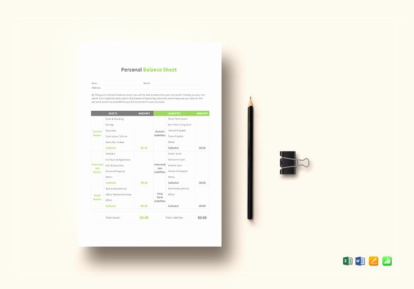 Personal Balance Sheet Template Awesome Personal Balance Sheet Template 16 Free Word Excel Pdf Documents Download