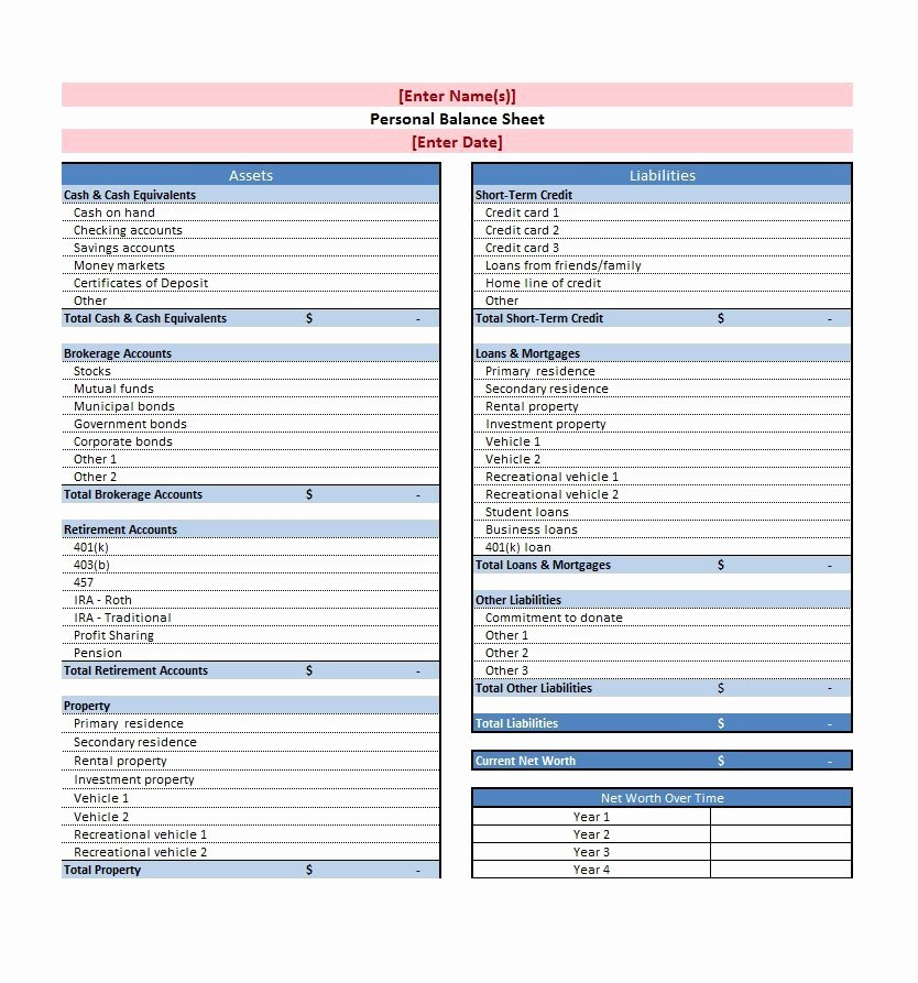 Personal Balance Sheet Template Beautiful 38 Free Balance Sheet Templates & Examples Template Lab