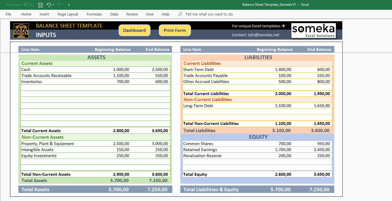Personal Balance Sheet Template Fresh Excel Balance Sheet Template Free Accounting Templates