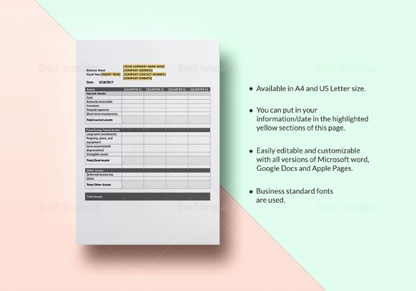 Personal Balance Sheet Template Inspirational Personal Balance Sheet Template 16 Free Word Excel Pdf Documents Download