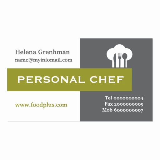 Personal Chef Business Card Elegant Personal Chef Minimalist Grey White Olive Business Card