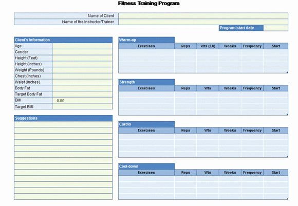 Personal Fitness Plan Template Best Of Workout Chart for Excel