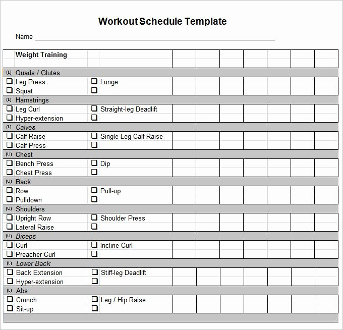 Personal Fitness Plan Template Best Of Workout Schedule Template 10 Free Word Excel Pdf format Download
