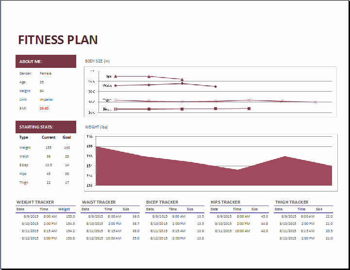 Personal Fitness Plan Template Fresh Ms Excel Fitness Planner Template