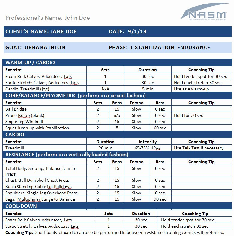 Personal Fitness Plan Template Fresh Workout Plans Archives Nasm Blog