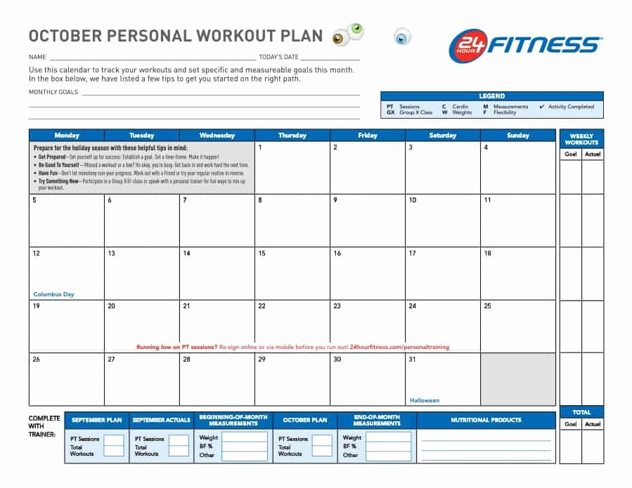 Personal Fitness Plan Template New 40 Effective Workout Log & Calendar Templates Template Lab