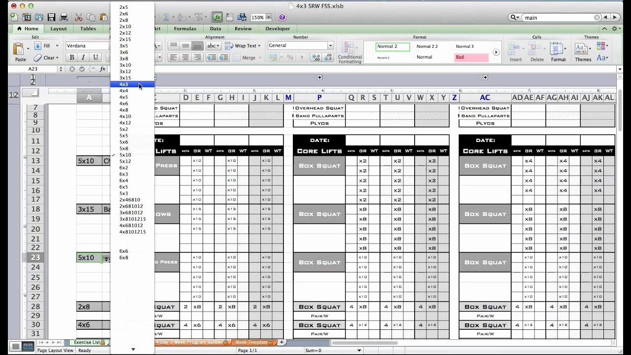 Personal Fitness Plan Template Unique Pt Fitness Excel Workout Template From Excel Training Designs