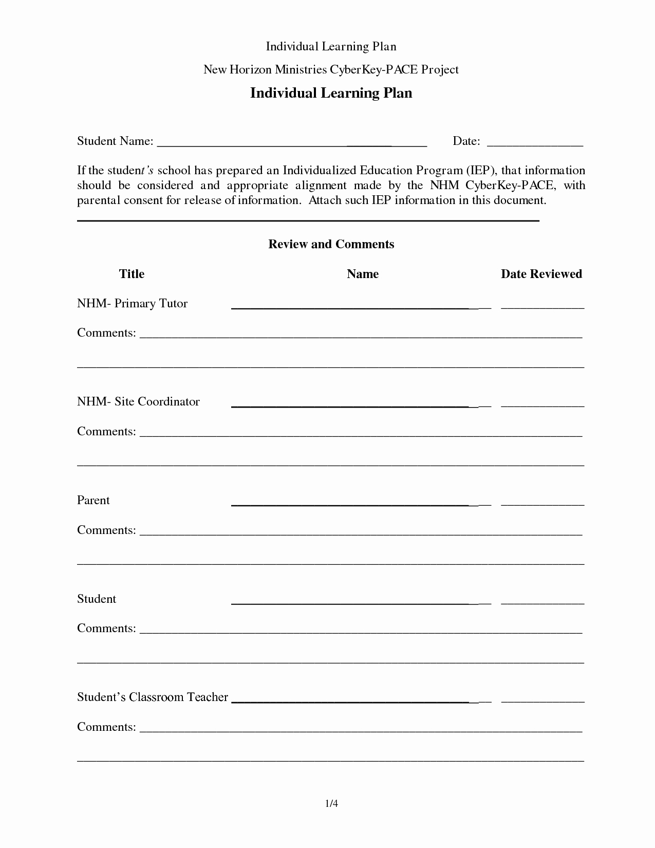 Personal Learning Plan Example New Individual Learning Plan Template Success