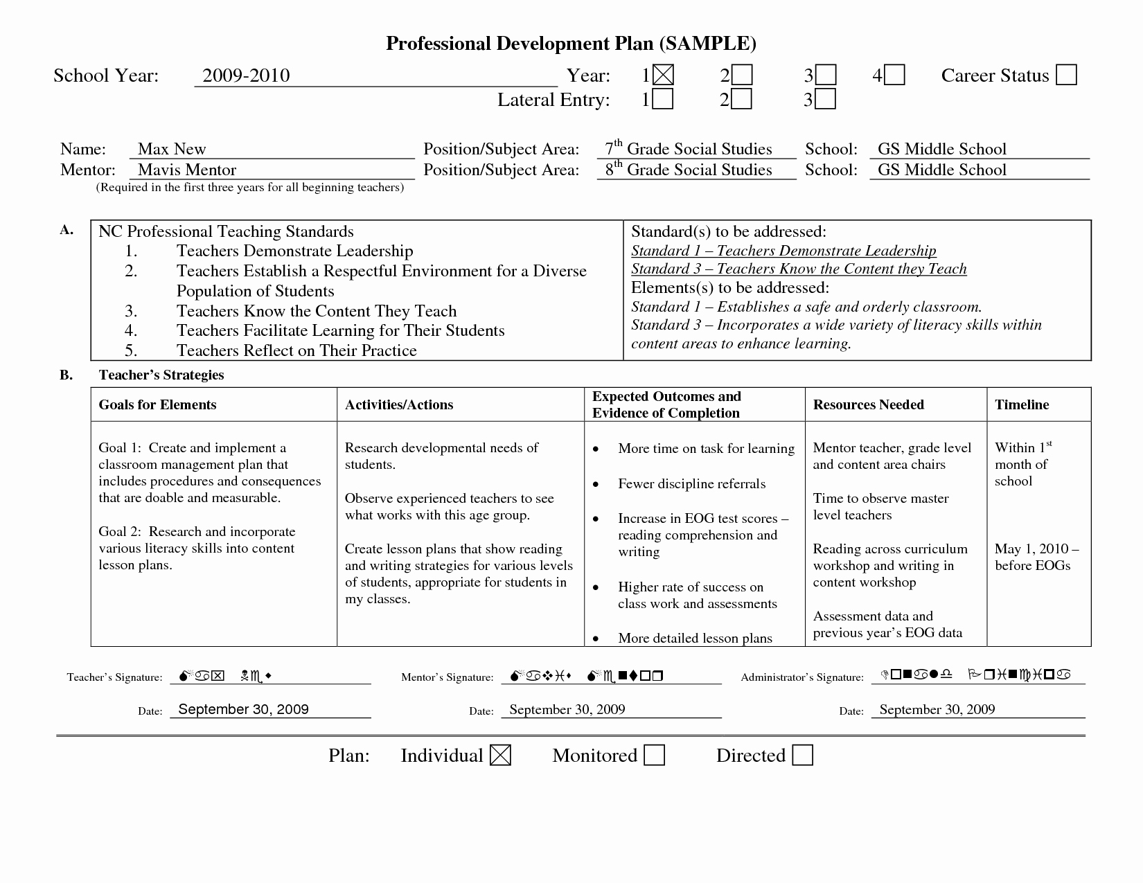 Personal Learning Plan Template New Professional Learning Plan Examples Google Search Professional Development