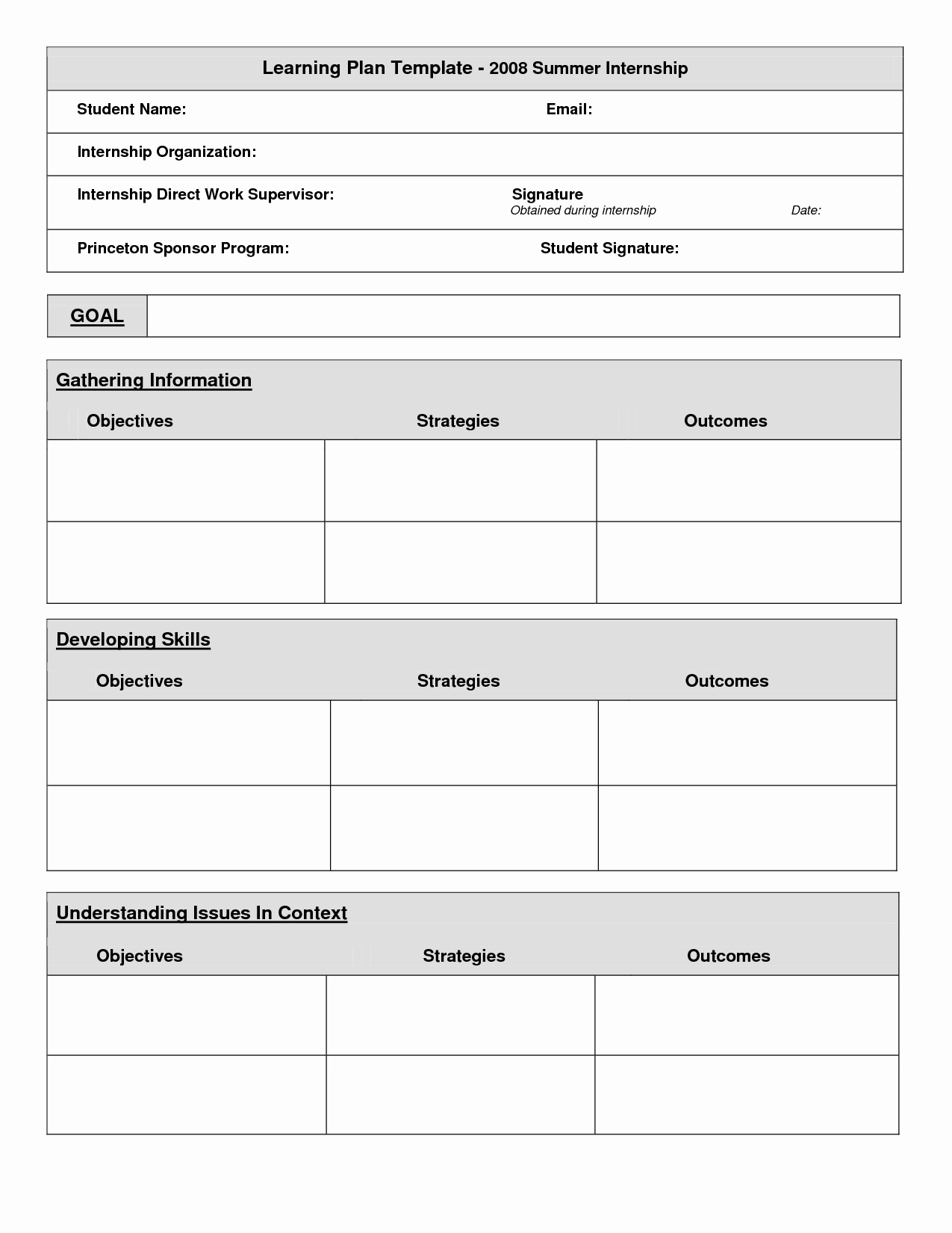 Personal Learning Plan Template Unique 18 Of Student Learning Plan Template