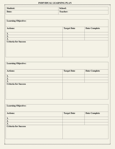 Personal Learning Plan Template Unique Individual Learning Plan Template by Moedonnelly
