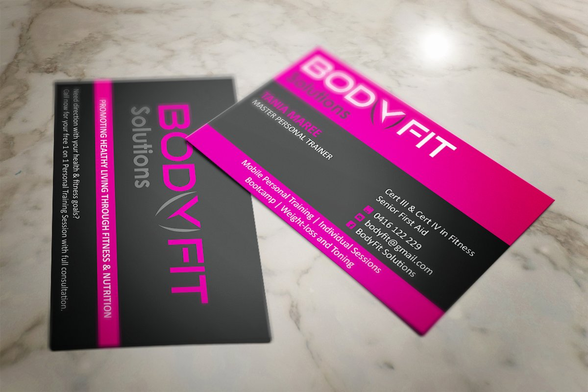 Personal Trainer Business Card Awesome Business Card Design Project for Female Personal Trainer Business Card Design Contest