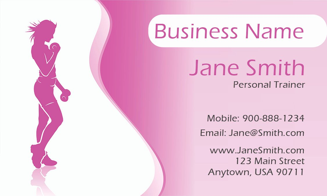 Personal Trainer Business Cards Inspirational Pink Girly Personal Trainer Business Card Design