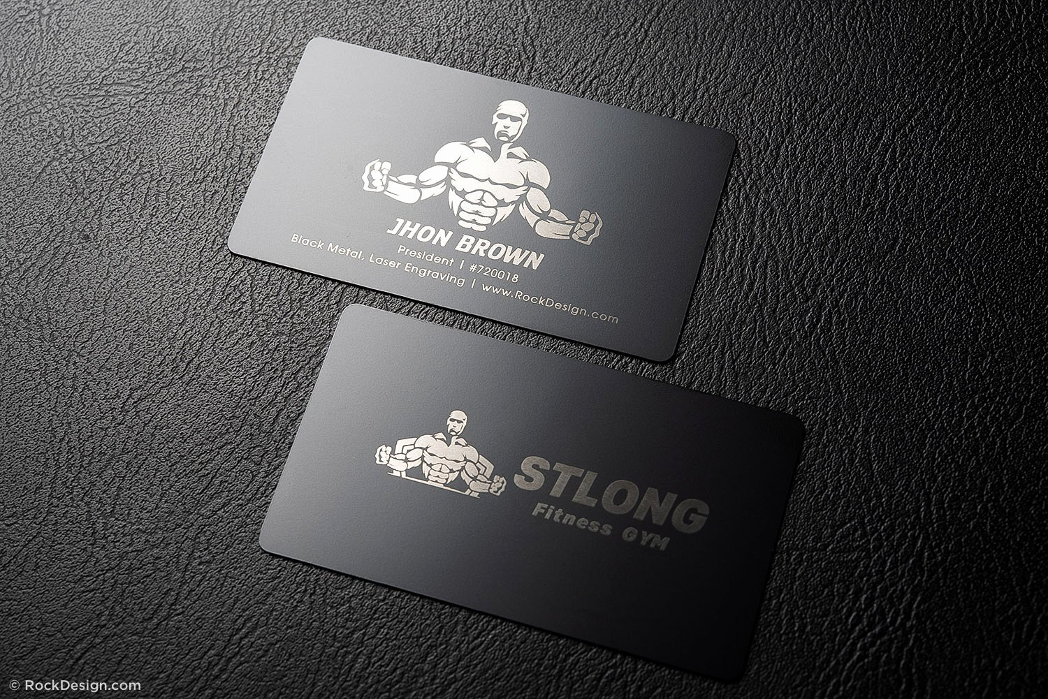 Personal Training Business Cards Elegant Bold Fitness Quick Black Metal Business Card Template Stlong