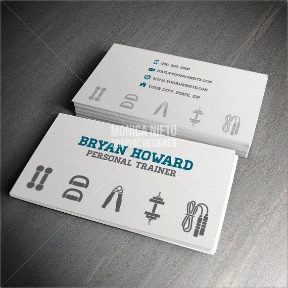 Personal Training Business Cards Fresh Custom Printable Personal Trainer Business Card Template