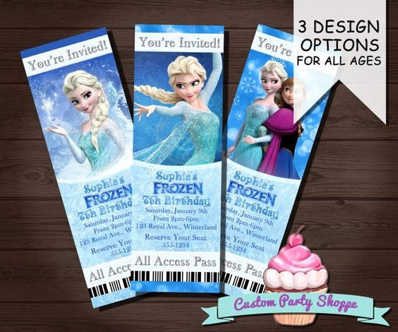 Personalized Frozen Birthday Invitations Awesome Frozen Printable Movie Ticket Invitation Custom Frozen Invitation Birthday Party Frozen Party