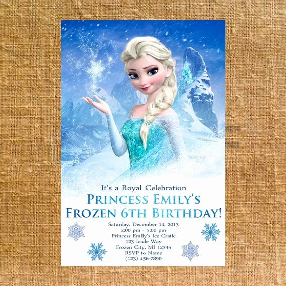 Personalized Frozen Birthday Invitations Elegant Customized Frozen Birthday Party Invite Digital File